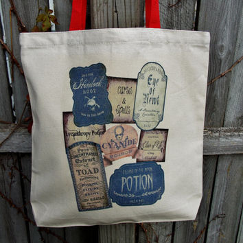 Potion Labels Tote Bag. Witch Wicca Coven Bag. Cotton Canvas Bag.