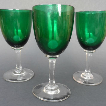 Antique wine glass - set of 3 Bristol green wine glasses - hand blown cut glass - drinking glass dating 1870 - vintage green barware