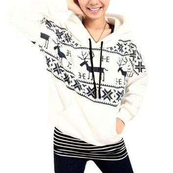 Women Pullover Deer Snowflakes Pattern Hooded Black White S