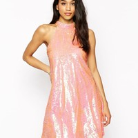 Club L | Club L High Neck Swing Dress In Sequins at ASOS