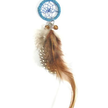 Dreamcatcher Feather Necklace Blue Wood Beaded NL00 Black Faux Leather Ethnic Native Fashion Jewelry