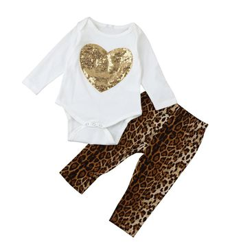 Newborn Baby girls cothes Long sleeve Infant Baby Girl Sequins Heart Romper Tops+Leopard Pants baby Outfits Set drop shipping