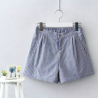 Stripe Zippered A-Line Shorts With Pocket