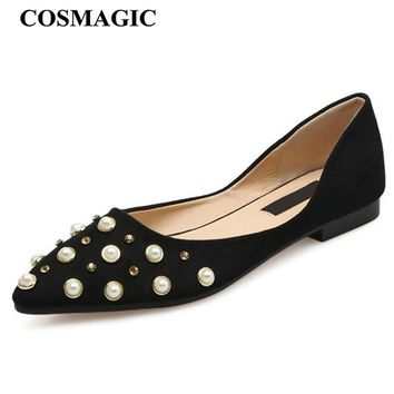 COSMAGIC New Beading D'orsay Ballet Flats 2018 Spring Women OL Slip on Black Khaki Pointed Toe Dress Casual Boat Shoes Loafers