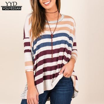 New T-shirts 2018 Women Casual Striped Spring Autumn Long Batwing Sleeve Tops Tee Shirt Female Ladies Camiseta Mujer *1208