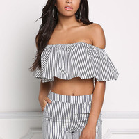 Black and White Pinstripe Off Shoulder Crop Top