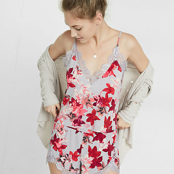 express one eleven floral print lace trim cami