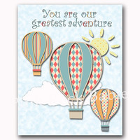 Hot air balloon nursery wall art baby boy room decor new born gift toddler quotes children room decoration our greatest adventure blue red