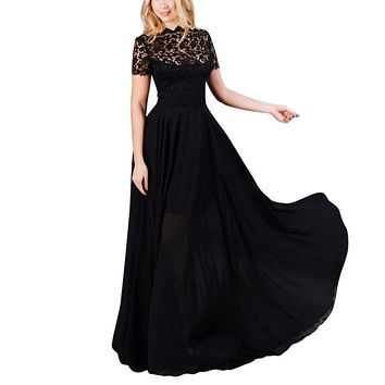 Women Long Maxi Dress Sexy Lace Evening Party Ball Prom Gown Formal  Dress