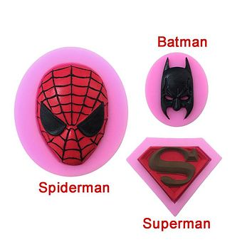 3 pcs/set superhero superman batman spiderman silicone cake baking decorating mold chocolate mold for cakes pastry baking tools