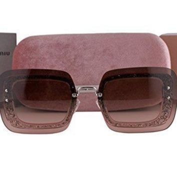 Miu Miu Mu01rs Sunglasses Transparent Pink Glitter W/pink Gradient Gray Lens Ueu1e2 Mu 01rs For Women
