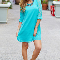 Aqua Chiffon Lace Sleeve Dress