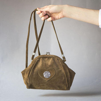 Vintage folk cross body bag brown suede. Small Bavarian Bag Edelweiss trim front. Brown suede leather purse handcrafted. Alpine bag small