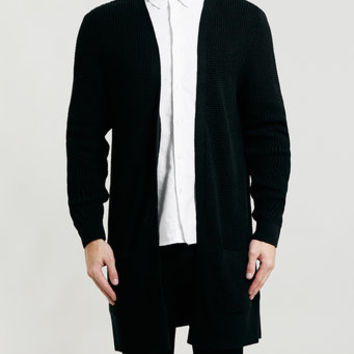 BLACK LONG LINE DUSTER CARDIGAN - Men's Cardigans & Sweaters - Clothing