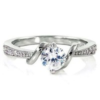 Entwined Love: 0.71ct Brilliant-cut Ice on Fire CZ Promise Engagement Ring 925 Silver, 3066