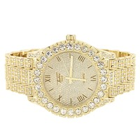 Men's Iced Out Gold Tone Solitaire Bezel Custom Watch