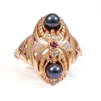 Art Deco Rose Gold Engagement Ring - Pearls and Diamonds
