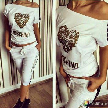 Moschino Fashion Long Sleeve Sport Gym Set Two-Piece Top Pants Sportswear