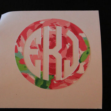 Lilly Pulitzer Inspired Circle Monogram Sticker