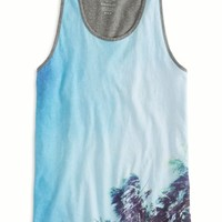 AEO Men's Photo Real Ringer Tank (White)