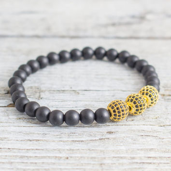 Matte black onyx beaded stretchy bracelet with gold micro pave Balls, made to order bracelet,  mens bracelet, womens bracelet