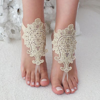 Gold  lace barefoot sandals wedding barefoot Flexible wrist lace sandals Beach wedding barefoot sandals beach Wedding sandals Bridal
