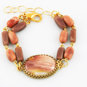 Pink Jasper Cabochon Bracelet with Pink Agate and Peach Aventurine Beads