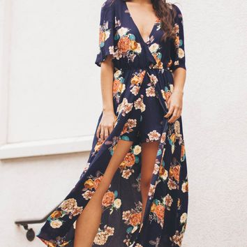 Never Going Back Navy Floral Maxi Romper