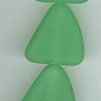 Sea Glass Spring Green Flat Free Form Nugget Beads Set of 6