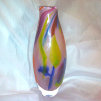 Impressionist Flower Petals Vase, Hand Blown Glass Art