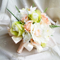 Silk and satin flowers wedding BOUQUET peach green cream Flowers, satin Handle,  Bridesmaids, custom