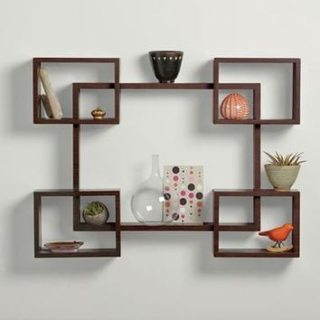Real Simple® 5-Piece Interlocking Decorative Rectangle Shelf Set in Espresso