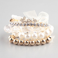 Full Tilt 5 Piece Pearl/Facet/Love Bracelets Gold One Size For Women 22840762101