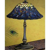 22 Inch H Tiffany Peacock Feather Table Lamp Table Lamps