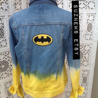 Batman Denim Jean Jacket Dip Dyed Yellow Ombre with Batman Patches Size Small //SuzNews Etsy Store//