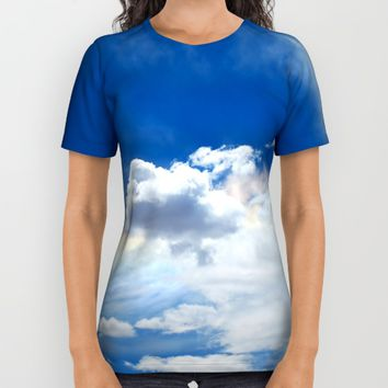 Clouds and rainbow All Over Print Shirt by Claude Gariepy