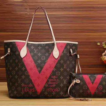 LV Two-Piece Women Shopping Bag Leather Tote Handbag Shoulder Bag H-LLBPFSH