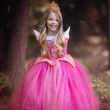 110-150cm Princess Aurora fashion gift Sleeping Beauty  costume fancy birthday gift girl dress  Dresses for girls party Costume
