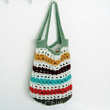 Scrappy Market or Beach Tote: Crochet Pattern PDF