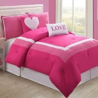 VCNY Hotel Juvi Comforter Set, 5-Piece, Full, Pink Love