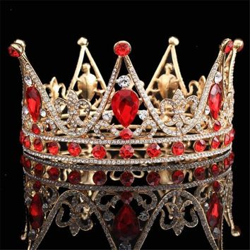 Cool Crystal King Queen Baroque Crown Tiara Bridal Wedding hair jewelry Metal Headpieces Prom Tiaras and Crowns Bride DiademAT_93_12