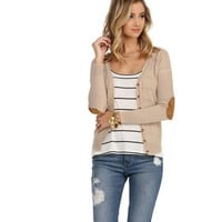 Khaki Marled Patch Work Cardigan