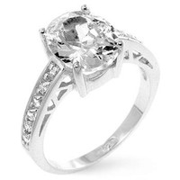 Oval Center Piece Engagement Ring, size : 07