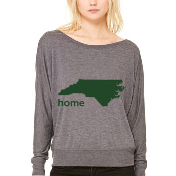 north carolina home WOMEN'S FLOWY LONG SLEEVE OFF SHOULDER TEE