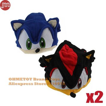 OHMETOY 2pcs Sonic Cap Cosplay Hat The Hedgehog Fleece Plush Black Blue Adults Teenagers Costumes Anime Brinquedos In Stock