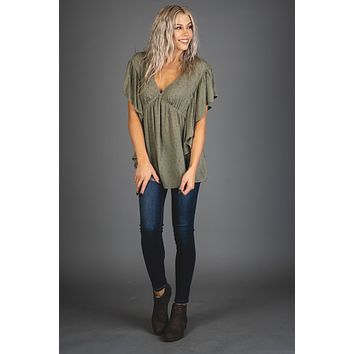 Olive Ruffle Sleeve Blouse Top