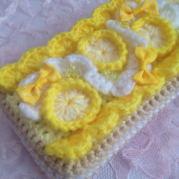 Kawaii Crochet Cell Phone Case iPhone Case Crochet Bag Cell Phone Accessory Amigurumi Lemon Meringue Pie Crochet Sweets Gift for Her