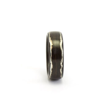 Wood Ring with Exposed Silver Lining - Rosewood Bentwood Band, Hand Made Wooden Jewelry