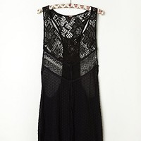 Free People Mixed Lace Drop Tank