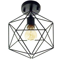 Antique Black Metal Cage Shade Semi Flush Mount Ceiling Light with 1 E26 Bulb Socket 40W Painted Finish